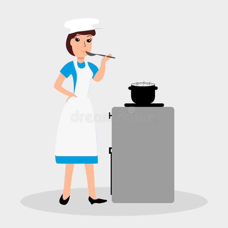 Kobieta kucharz Wektorowa kolor ilustracja dla twój projekta royalty ilustracja