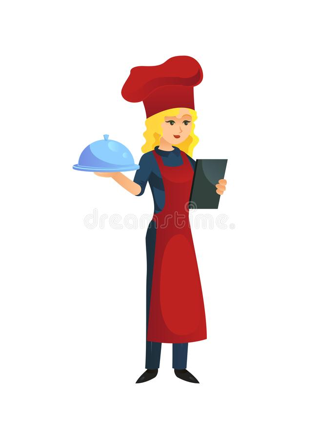 Kobieta kucharz z tacą ilustracja wektor