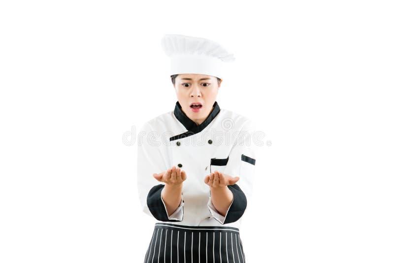 Kobieta kucharza odczucie szokujący rozczarowywającym fotografia stock