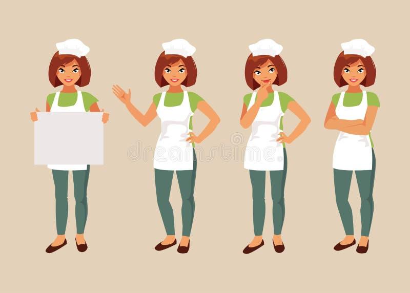 Kobieta kucharza set ilustracji