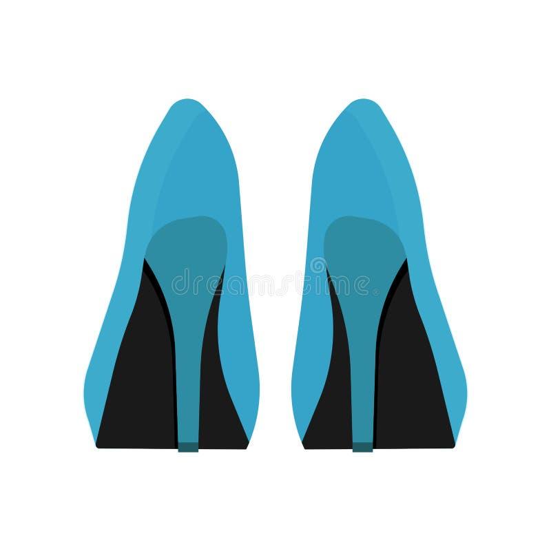 Kobieta kuje z powrotem widoku wektoru ikonę Mody piękna żeńskiego buta projekta nożny styl Szpilki akcesorium ustalona dama ilustracji