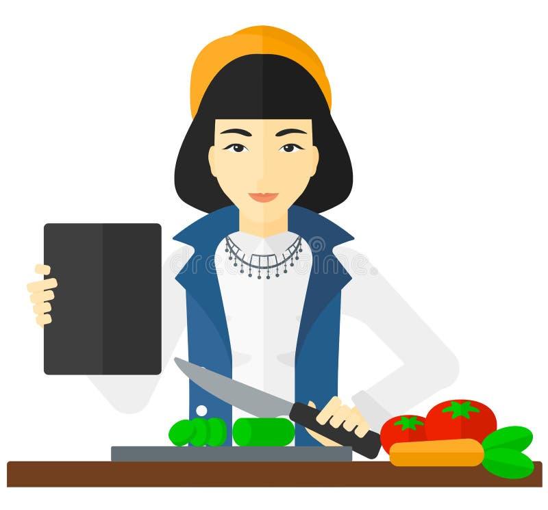 Kobieta kulinarny posiłek ilustracja wektor
