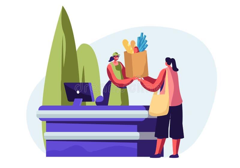 Kobieta Kupuje Zdrowego jedzenie w Reusable kocowaniu w Eco sklepie Uśmiechnięty kasjer dziewczyny charakter Daje Eco Życzliwy royalty ilustracja