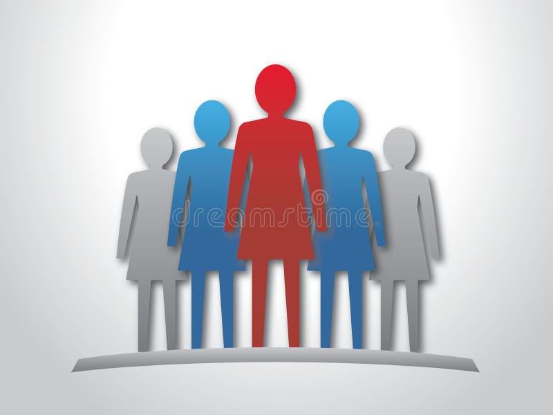 Kobieta lider i jej drużyna. ilustracji