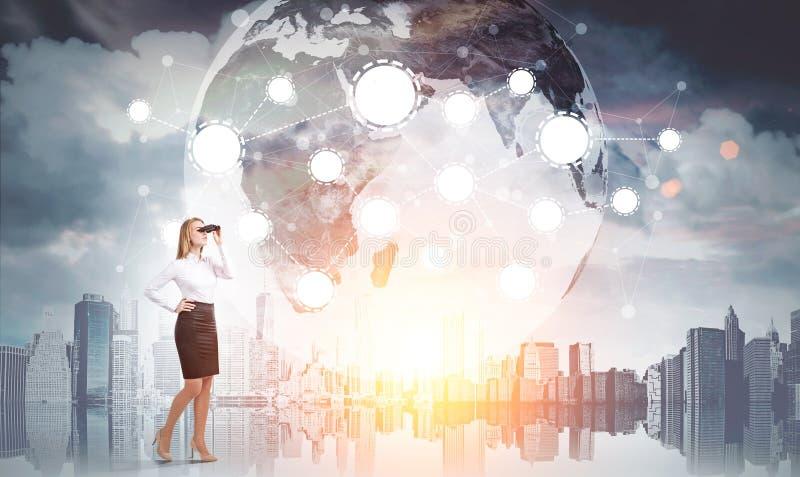 Kobieta, lornetki, miasto, sieć, ziemia ilustracja wektor