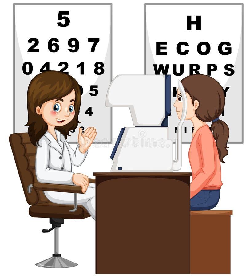 Kobieta ma oczy sprawdzać lekarką ilustracji