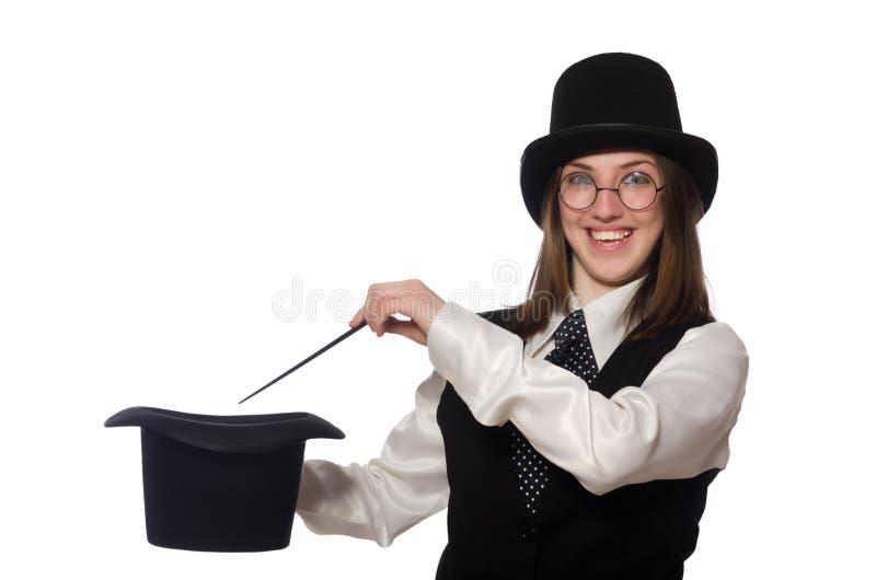 Kobieta magik na bielu zdjęcie stock