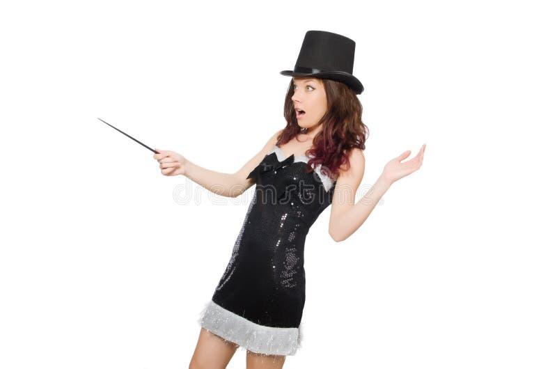 Kobieta magik odizolowywający fotografia stock