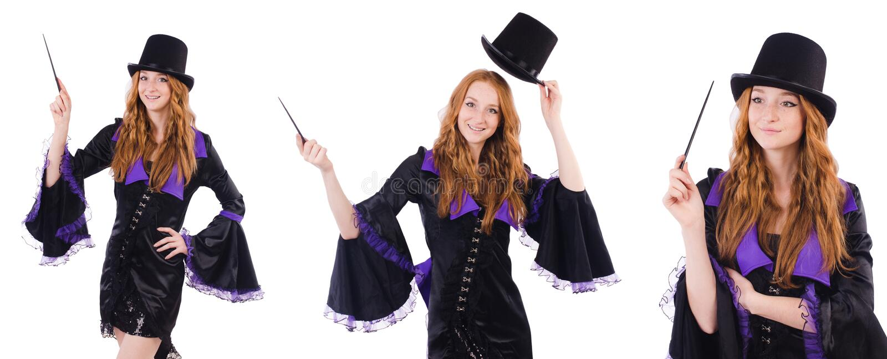 Kobieta magik odizolowywający na bielu zdjęcia stock