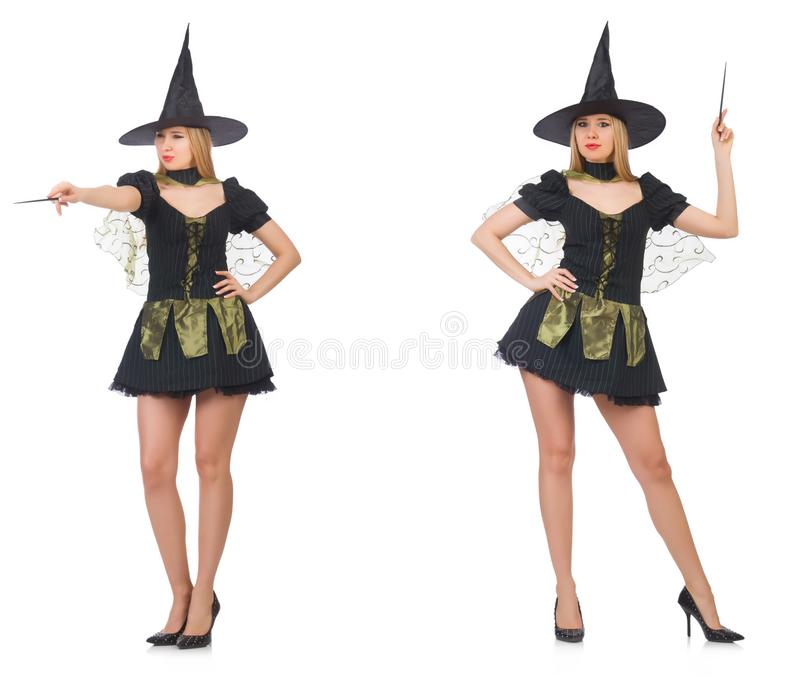 Kobieta magik robi jej sztuczkom z różdżką zdjęcia stock
