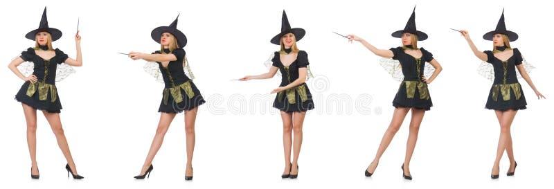 Kobieta magik robi jej sztuczkom z różdżką zdjęcie stock