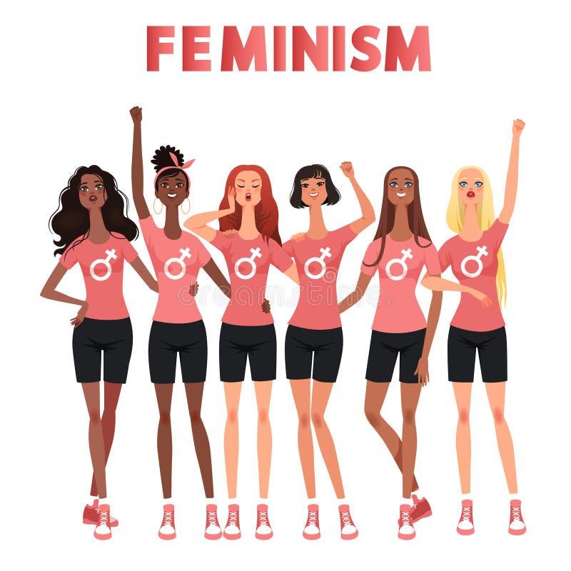 Kobieta marsz, protest, spotyka Walka dla kobiet dóbr Międzynarodowa grupa kobieta stojaki dla feminizmu również zwrócić corel il ilustracji
