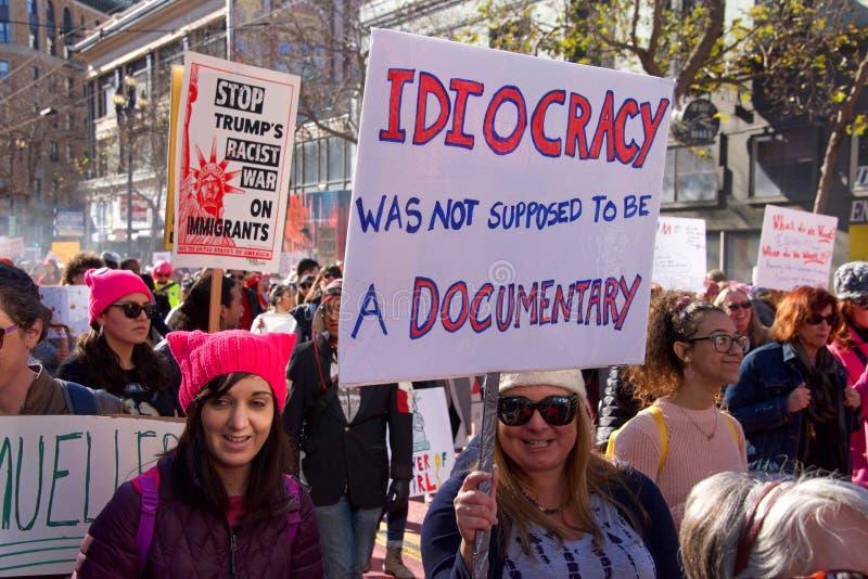 Kobieta marsz protestacyjny, San Fransisco, CA obraz stock