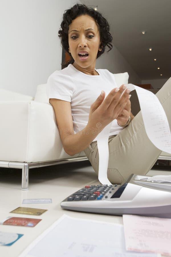Kobieta Martwiąca się O finansach fotografia stock
