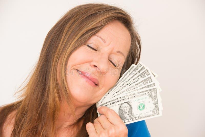 Kobieta marzy dolarowy pieniądze obrazy stock