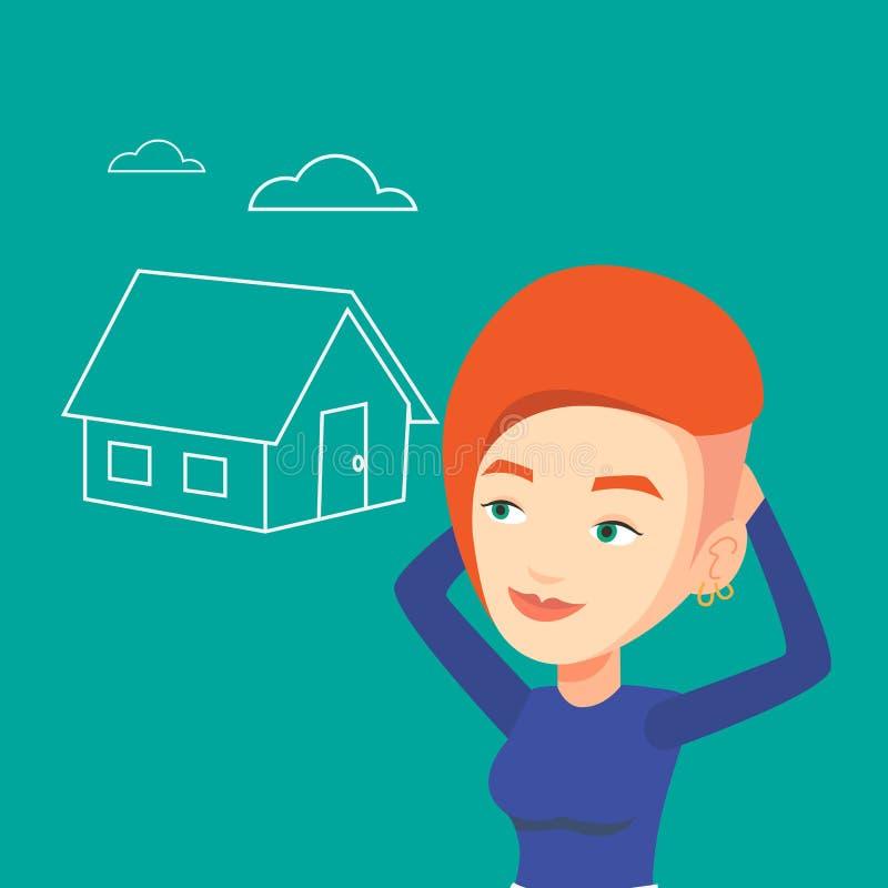 Kobieta marzy o kupienie nowym domu ilustracji