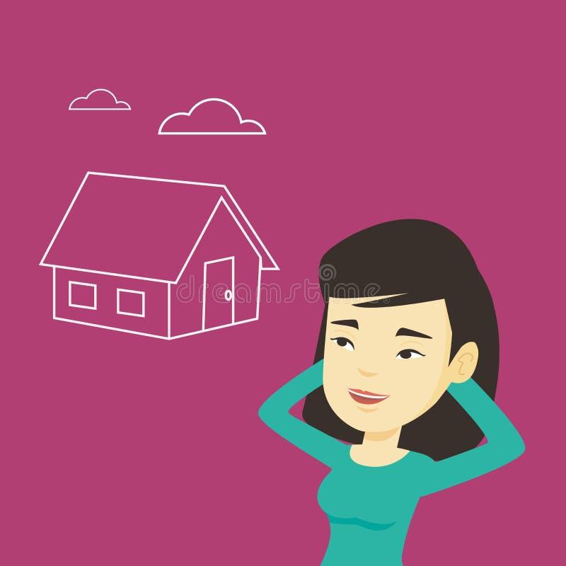 Kobieta marzy o kupienie nowym domu ilustracja wektor