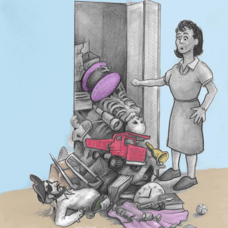 Kobieta materiał Spada Z szafy ilustracja wektor
