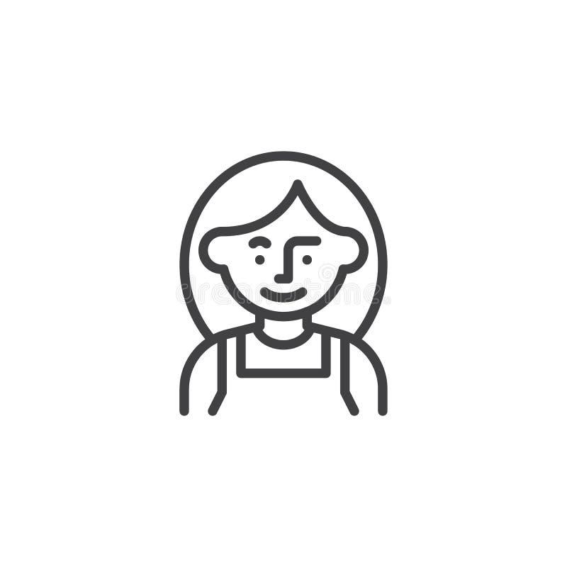 Kobieta mechanika avatar linii ikona ilustracji
