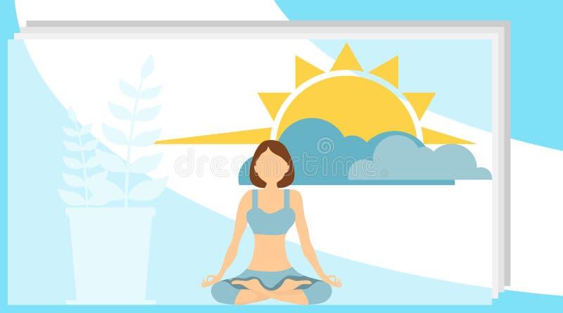 Kobieta medytuje w lotosowej pozycji Wektorowa ilustracja, pojęcie medytacja podczas godzin pracujących, przerwa, zdrowie ilustracja wektor
