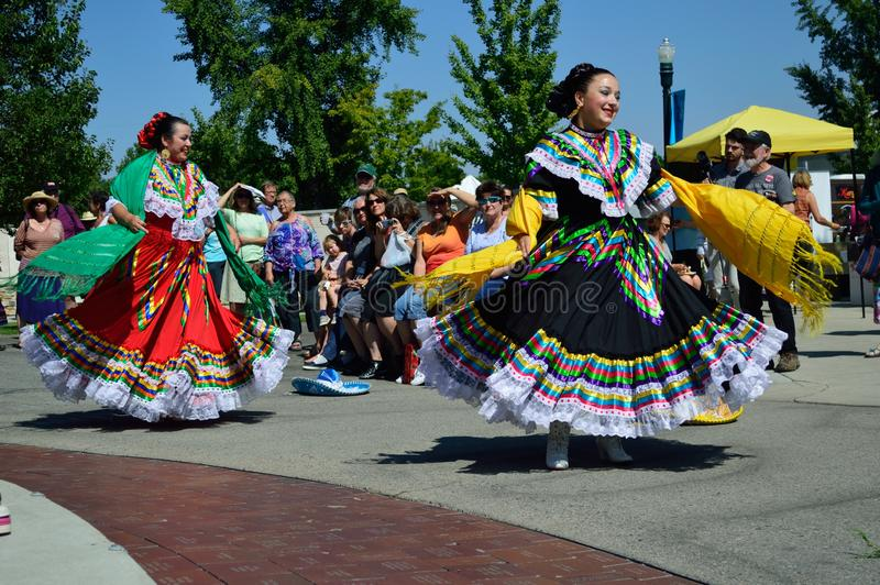 Kobieta Meksykańscy Ludowi tancerze Boise Idaho fotografia stock