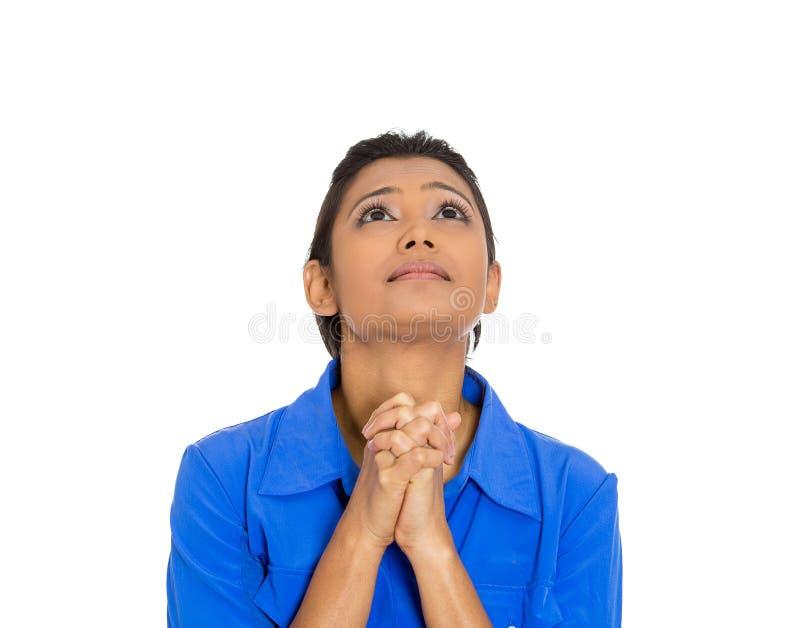 Kobieta mieć_nadzieja dla best przygląda się zamkniętego modlenie fotografia royalty free