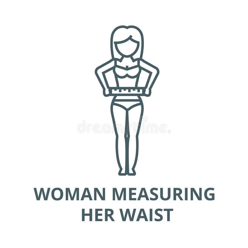 Kobieta mierzy jej tali?, diety sprawno?ci fizycznej wektoru linii ikona, liniowy poj?cie, konturu znak, symbol ilustracja wektor