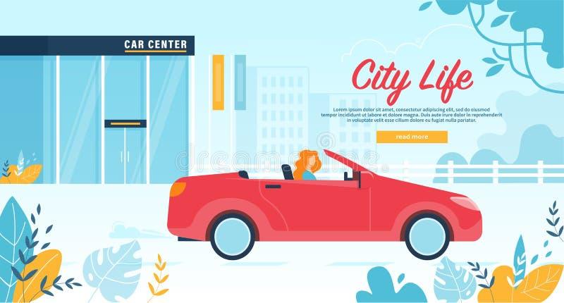 Kobieta mieszkana urlopu samochodu usługa na Czerwonym kabriolecie royalty ilustracja
