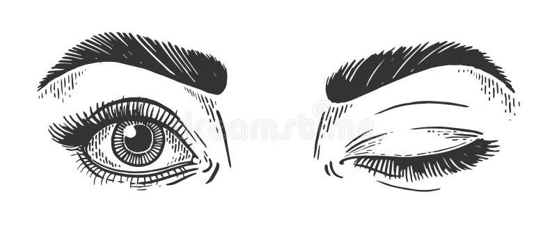 Kobieta mruga oka nakreślenia rytownictwa wektor royalty ilustracja