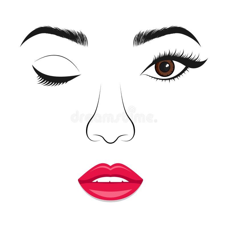 Kobieta mruga Wektorowy portret piękna ufna kobieta ilustracji