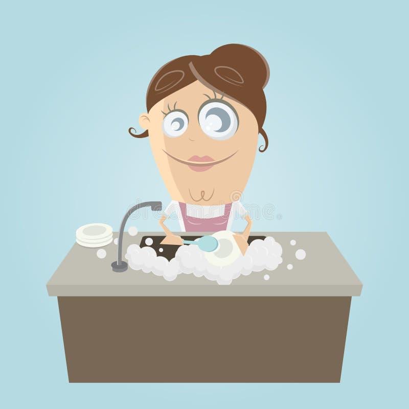 Kobieta myje naczynia ilustracja wektor