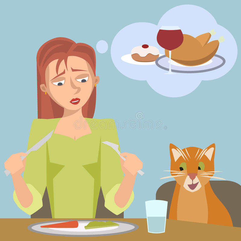 Kobieta na dieta sen wysoki kalorii jedzenie ilustracja wektor