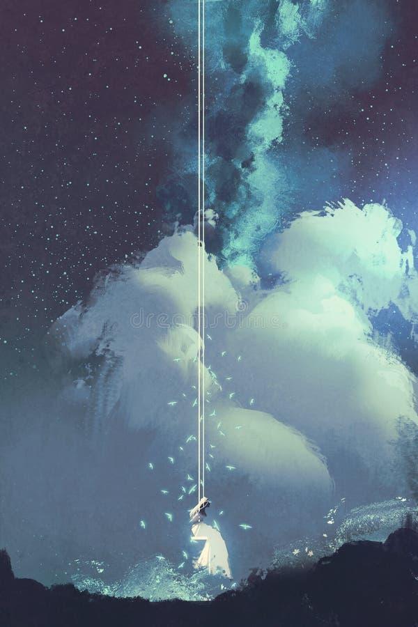 Kobieta na huśtawce pod nocnym niebem z gwiazdami i chmurami ilustracji