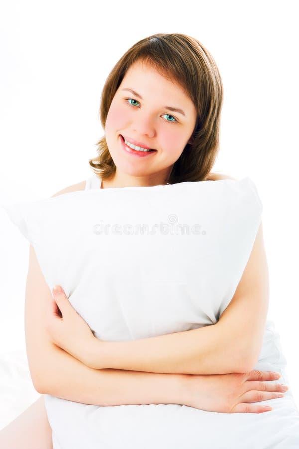 kobieta na poduszki zdjęcie royalty free
