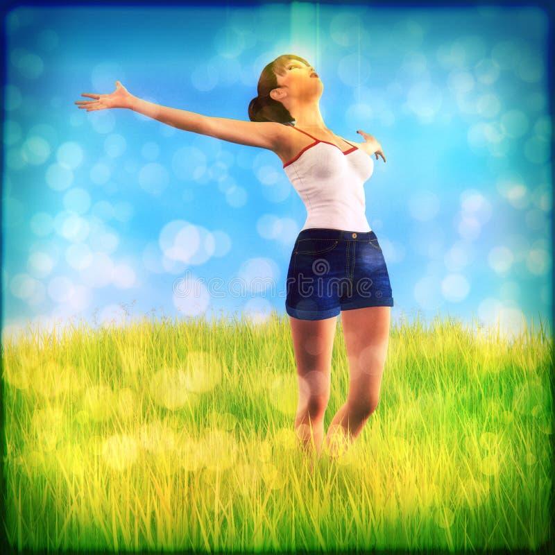Kobieta na trawy polu ilustracji