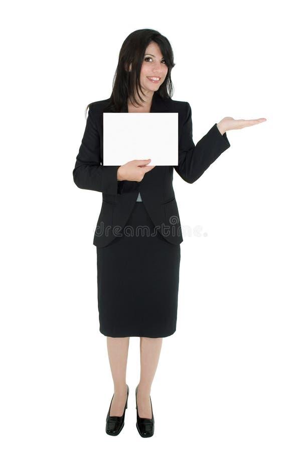 kobieta na wprowadzenie do obrotu produktu zdjęcie royalty free