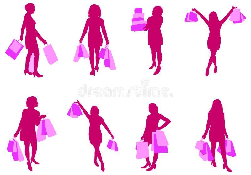 kobieta na zakupy ilustracja wektor