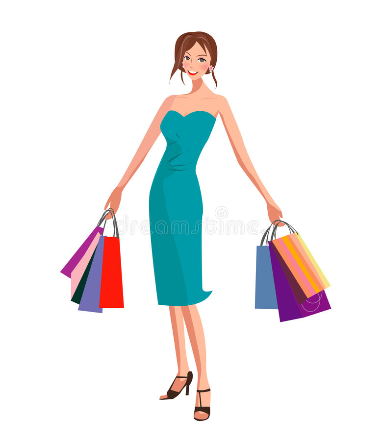 kobieta na zakupy ilustracji
