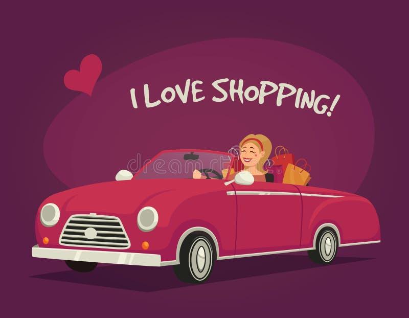 Kobieta Napędowy zakupy royalty ilustracja