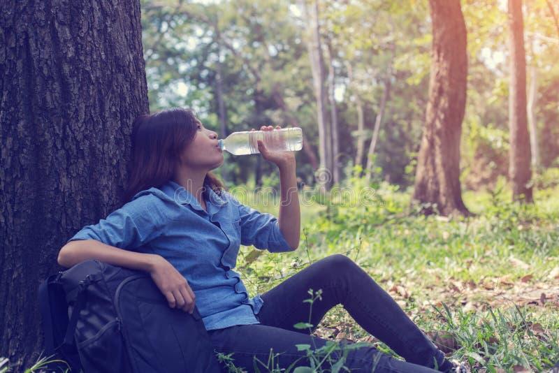 Kobieta napoju woda w pięknych naturalnych lasach zdjęcie royalty free