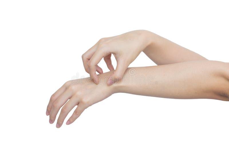 Kobieta narysu ręka odizolowywająca na białym tle zdjęcie royalty free