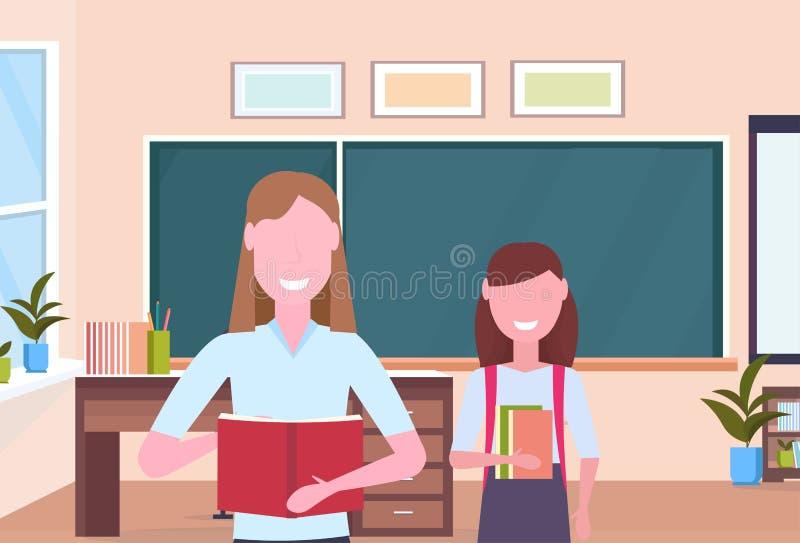 Kobieta nauczyciel z uczennica uczniem stoi nad chalkboard nowożytnej szkolnej sali lekcyjnej wewnętrznymi żeńskimi postaciami z  ilustracja wektor