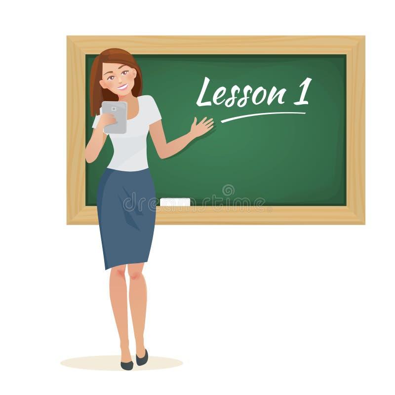 Kobieta nauczyciela stojaki przy blackboard ilustracji
