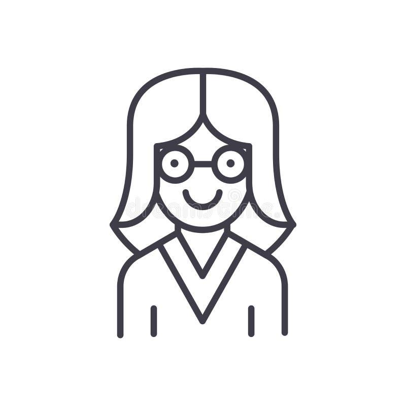 Kobieta naukowa czerni ikony pojęcie Kobieta naukowa płaski wektorowy symbol, znak, ilustracja ilustracja wektor