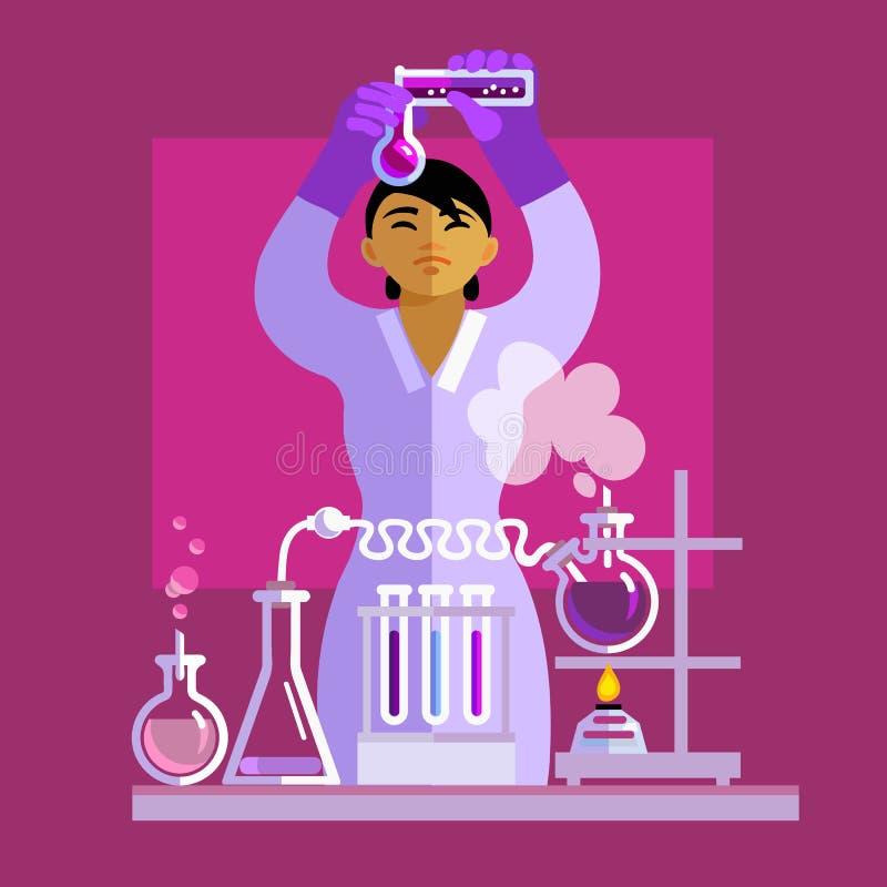 Kobieta naukowiec pracuje w laboratorium wektor ilustracji