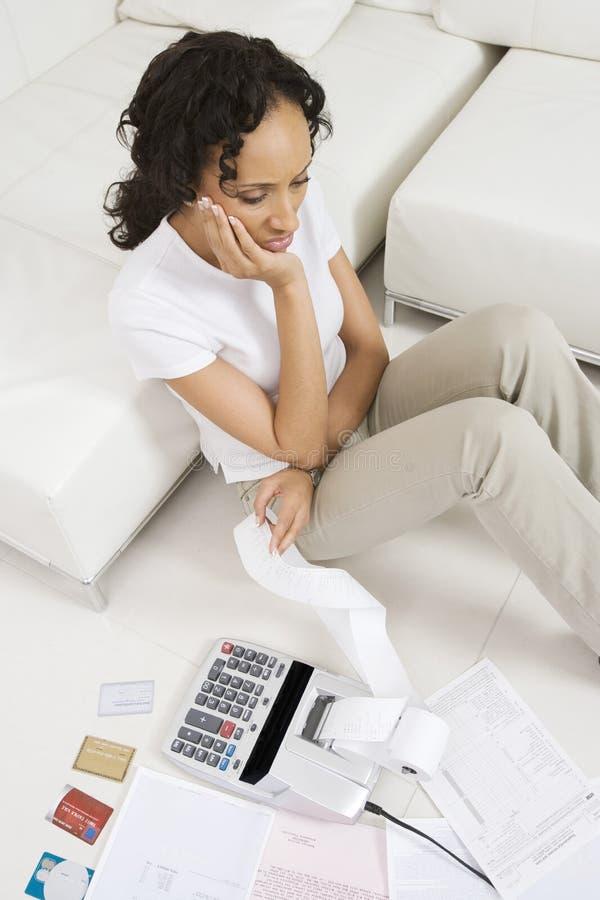 Kobieta Nieszczęśliwa O finansach obraz royalty free