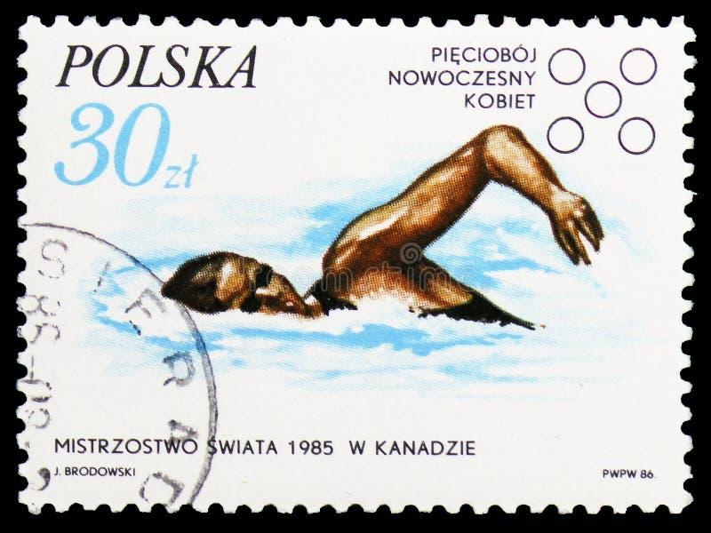 Kobieta Nowożytny pentatlon, Montreal, b Kotowska, sukcesy Polscy sportowowie w 1985 seria około 1986, zdjęcia royalty free