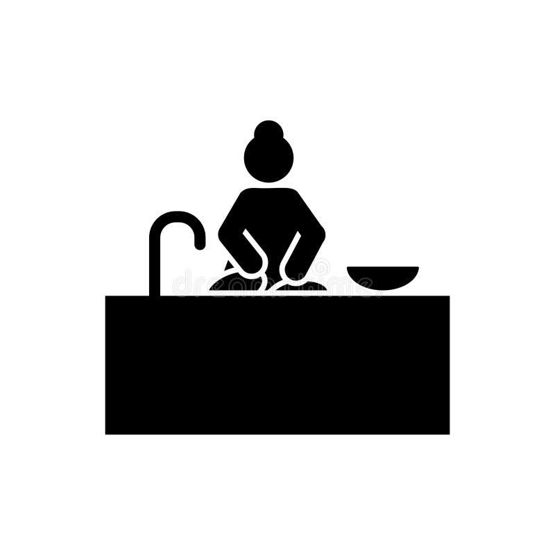 Kobieta, obmycie, kuchenna ikona Element dzienna rutynowa ikona ilustracja wektor