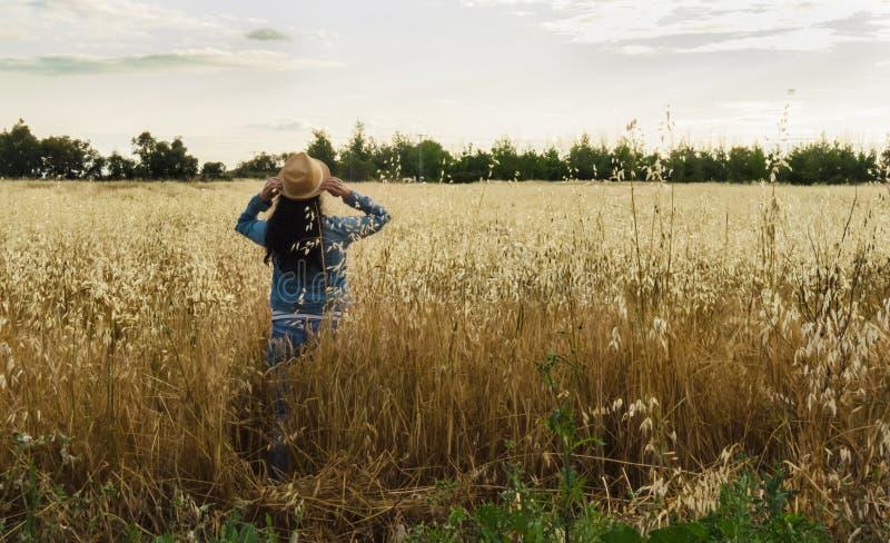 Kobieta od plecy z kapeluszem w pszenicznym polu, szczęśliwa kobieta zdjęcia stock