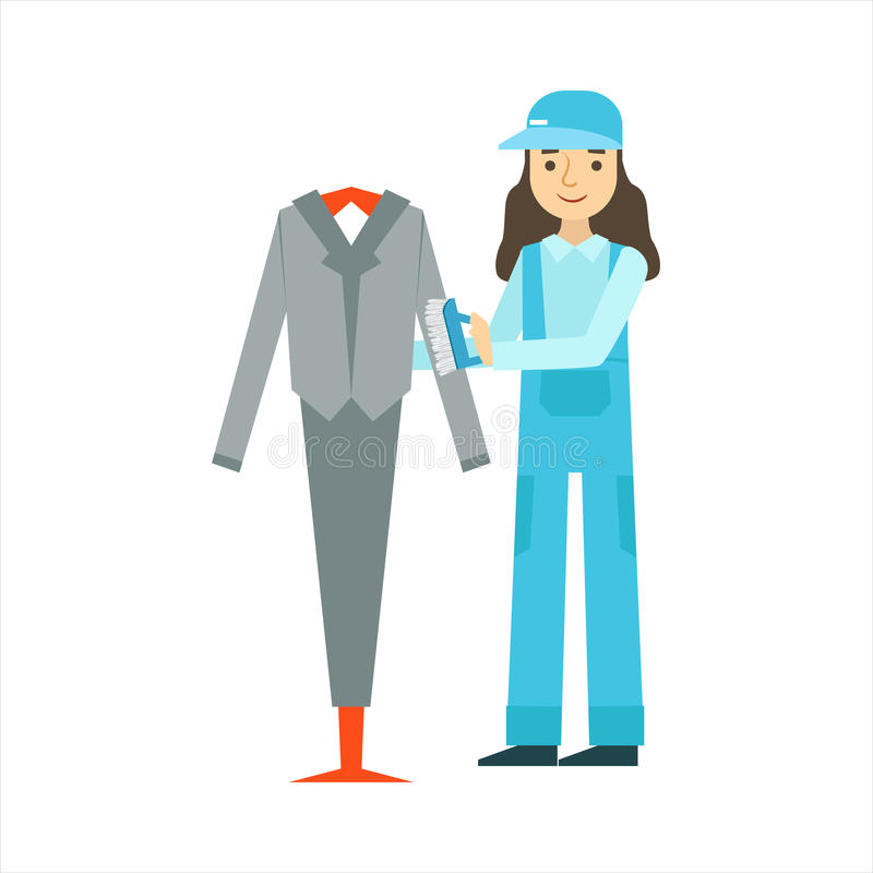 Kobieta Odkurza kostium Z muśnięciem, Czyści Usługowy Fachowy Cleaner W Jednolitym Cleaning W gospodarstwie domowym ilustracja wektor